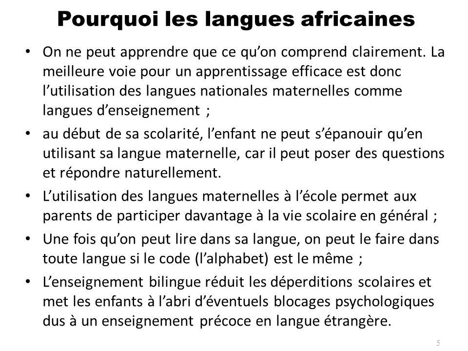 Pourquoi les langues africaines