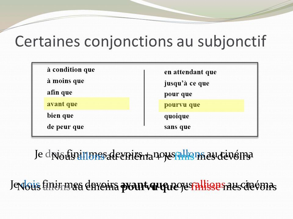 Certaines conjonctions au subjonctif