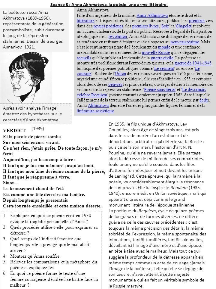 Séance 3 : Anna Akhmatova, la poésie, une arme littéraire.
