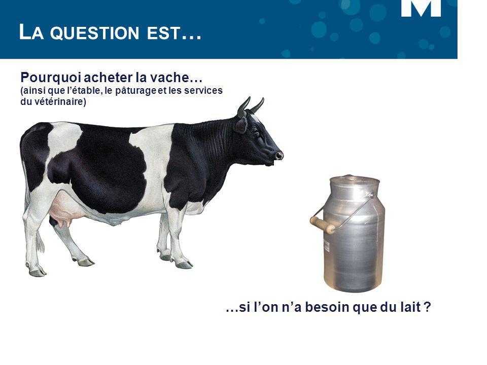 La question est… Pourquoi acheter la vache…