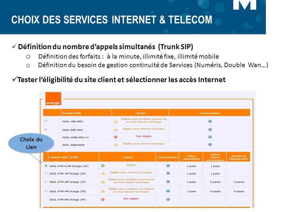 CHOIX DES SERVICES INTERNET & TELECOM