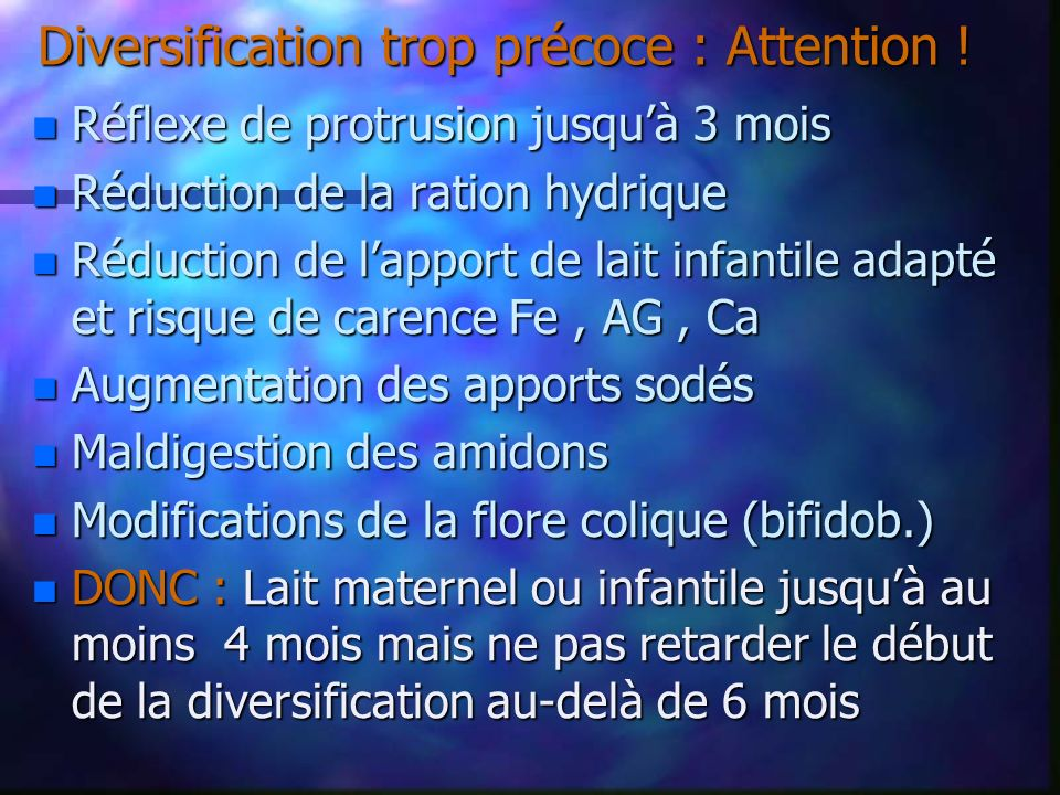 Diversification trop précoce : Attention !