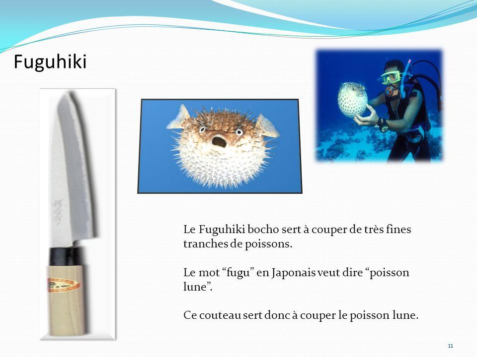 Fuguhiki Le Fuguhiki bocho sert à couper de très fines tranches de poissons. Le mot fugu en Japonais veut dire poisson lune .