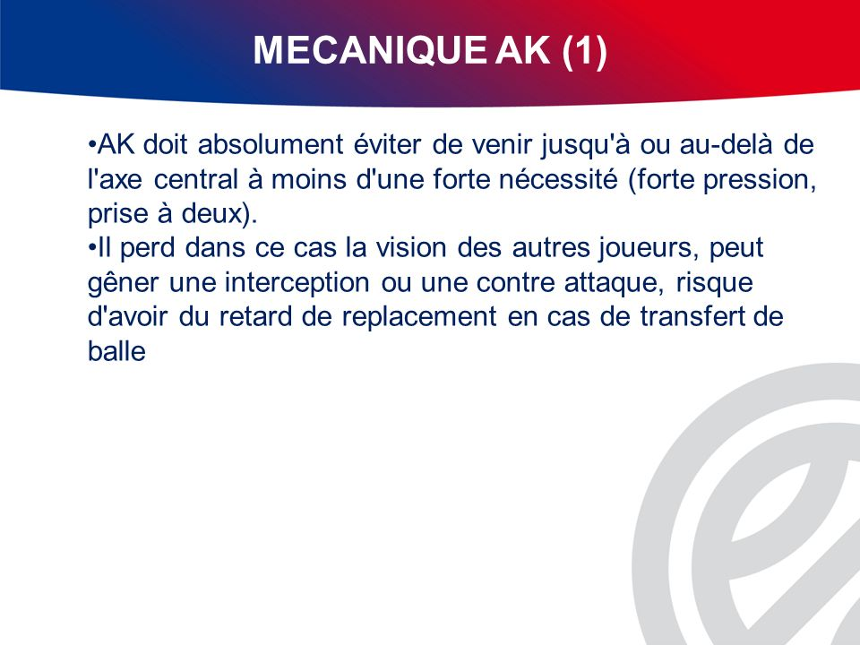 MECANIQUE AK (1) AK doit absolument éviter de venir jusqu à ou au-delà de l axe central à moins d une forte nécessité (forte pression, prise à deux).
