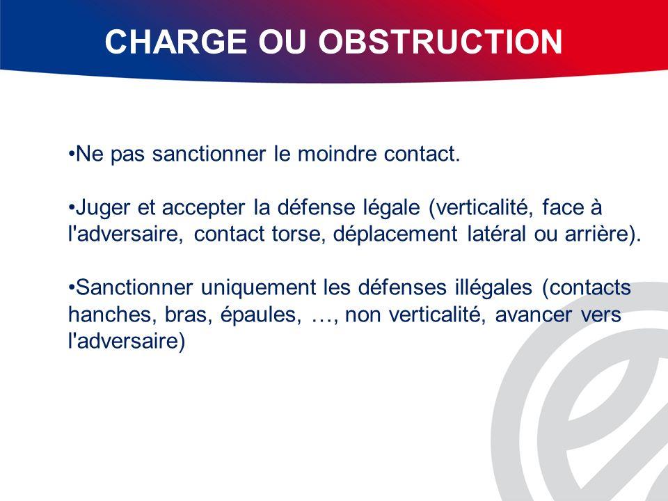 CHARGE OU OBSTRUCTION Ne pas sanctionner le moindre contact.