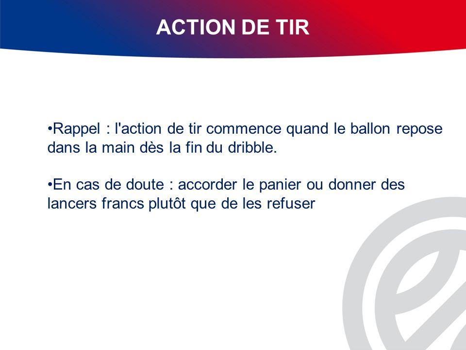 ACTION DE TIR Rappel : l action de tir commence quand le ballon repose dans la main dès la fin du dribble.