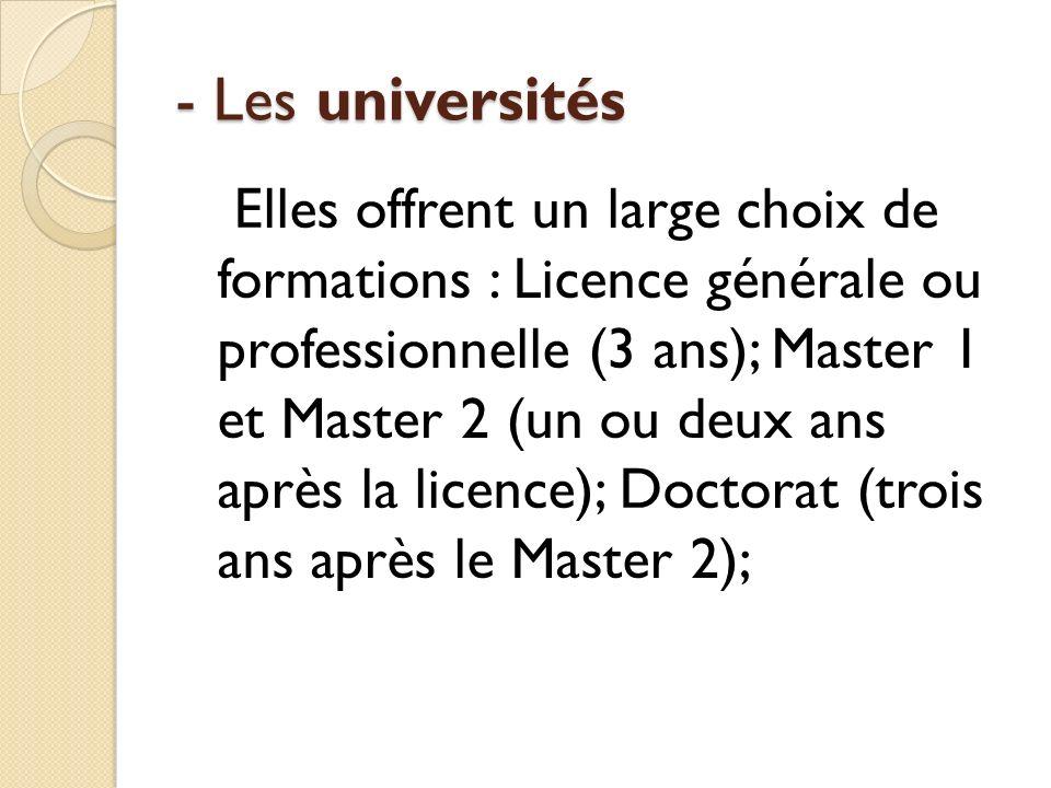 - Les universités