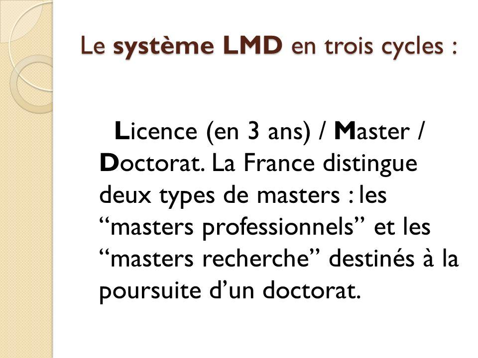 Le système LMD en trois cycles :
