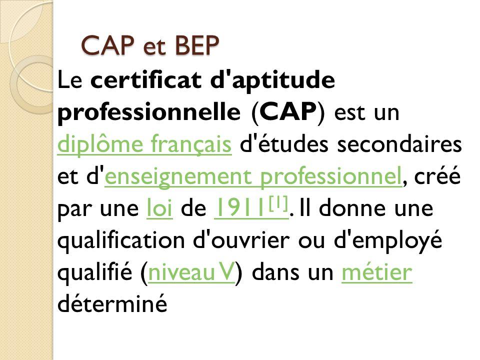 CAP et BEP