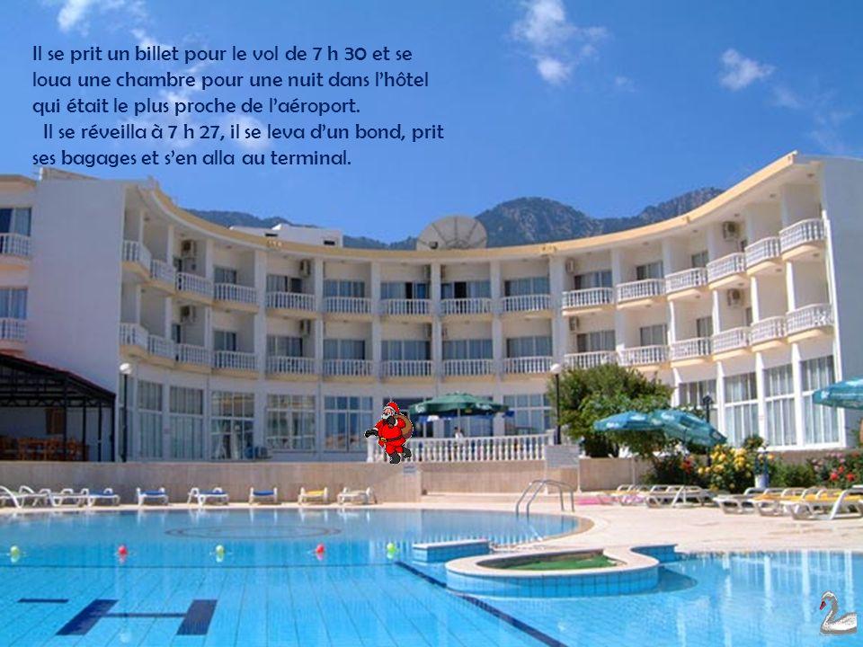 Il se prit un billet pour le vol de 7 h 30 et se loua une chambre pour une nuit dans l'hôtel qui était le plus proche de l'aéroport.