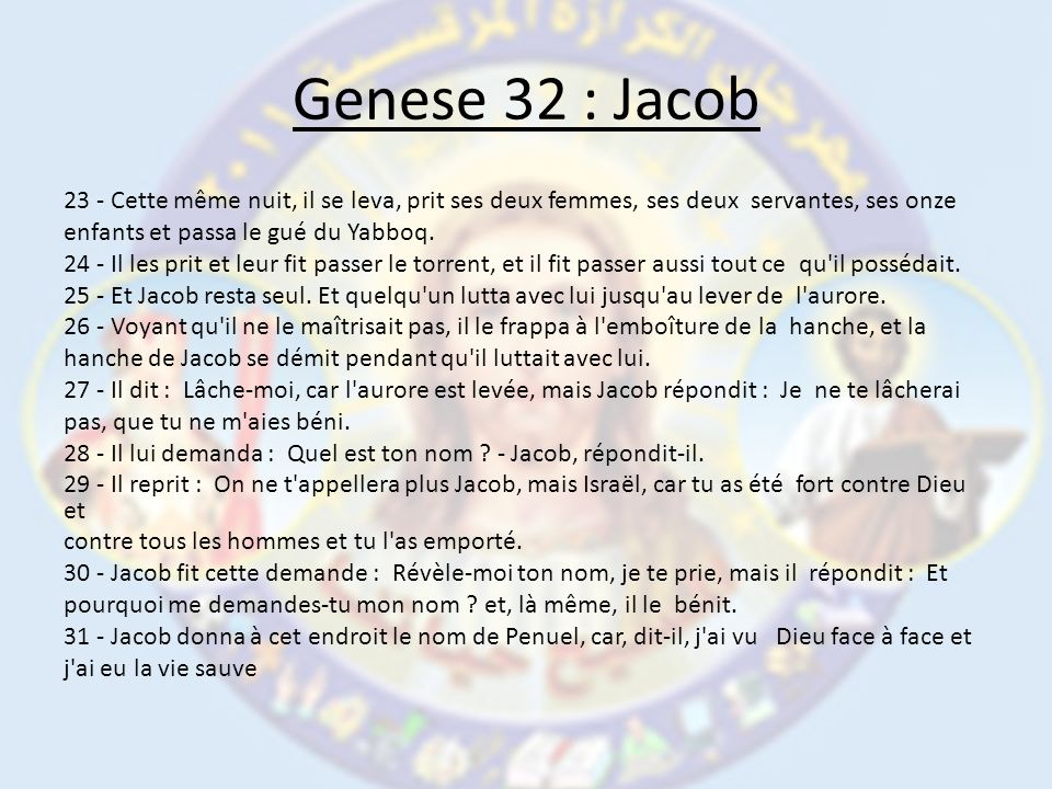 Genese 32 : Jacob