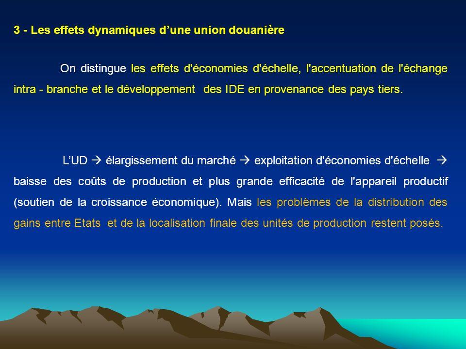 3 - Les effets dynamiques d'une union douanière