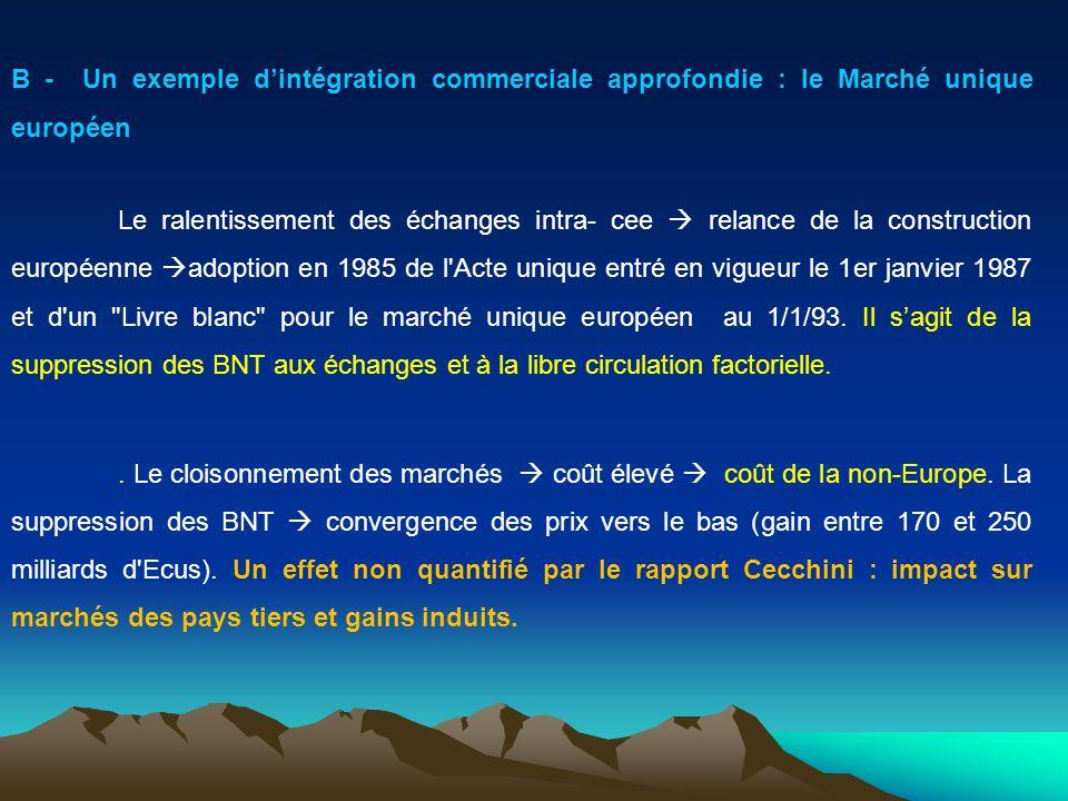 B - Un exemple d'intégration commerciale approfondie : le Marché unique européen