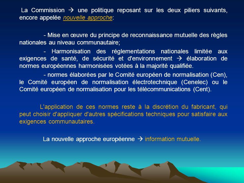 La Commission  une politique reposant sur les deux piliers suivants, encore appelée nouvelle approche:
