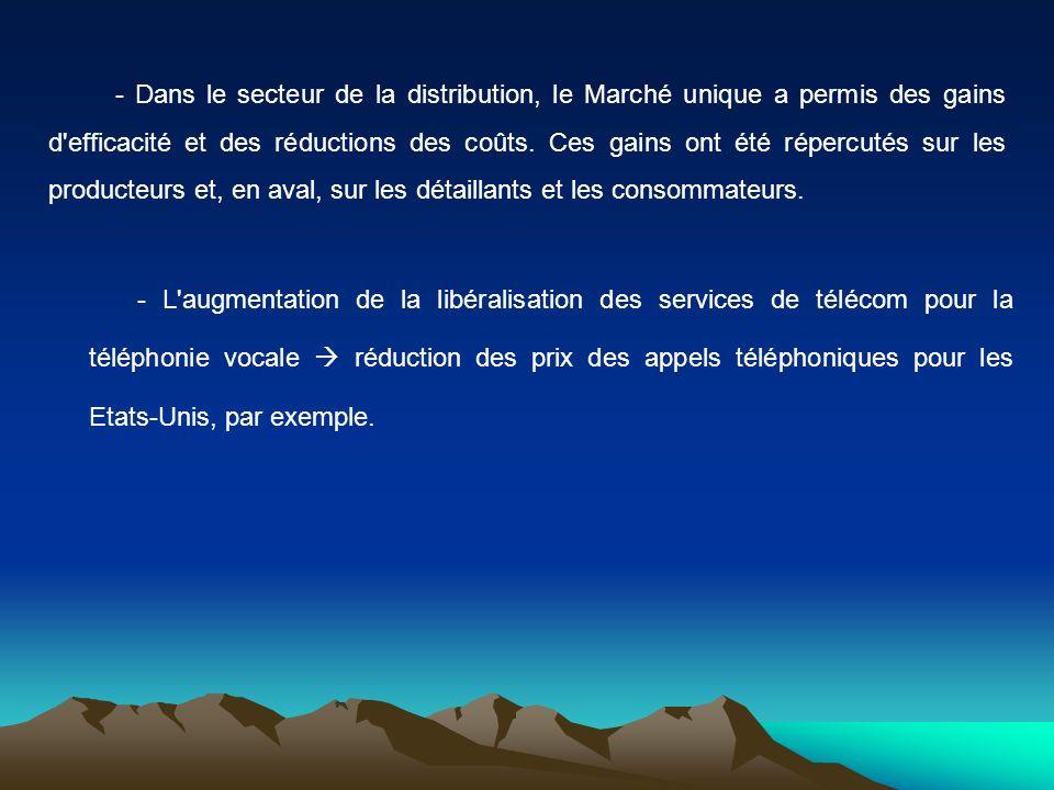 - L augmentation de la libéralisation des services de télécom pour la téléphonie vocale  réduction des prix des appels téléphoniques pour les Etats-Unis, par exemple.