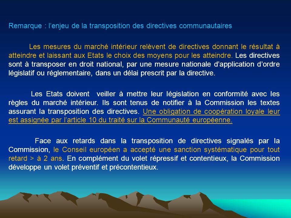 Remarque : l'enjeu de la transposition des directives communautaires