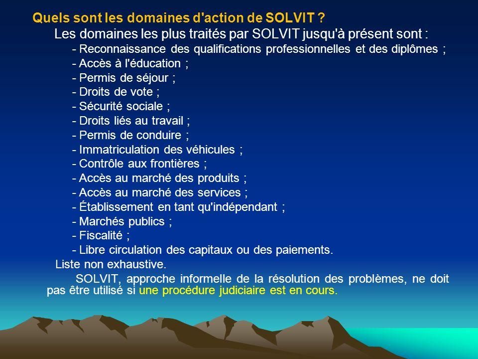 Quels sont les domaines d action de SOLVIT