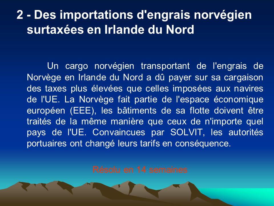 2 - Des importations d engrais norvégien surtaxées en Irlande du Nord