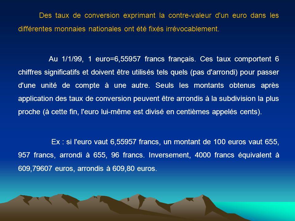 Des taux de conversion exprimant la contre-valeur d un euro dans les différentes monnaies nationales ont été fixés irrévocablement.