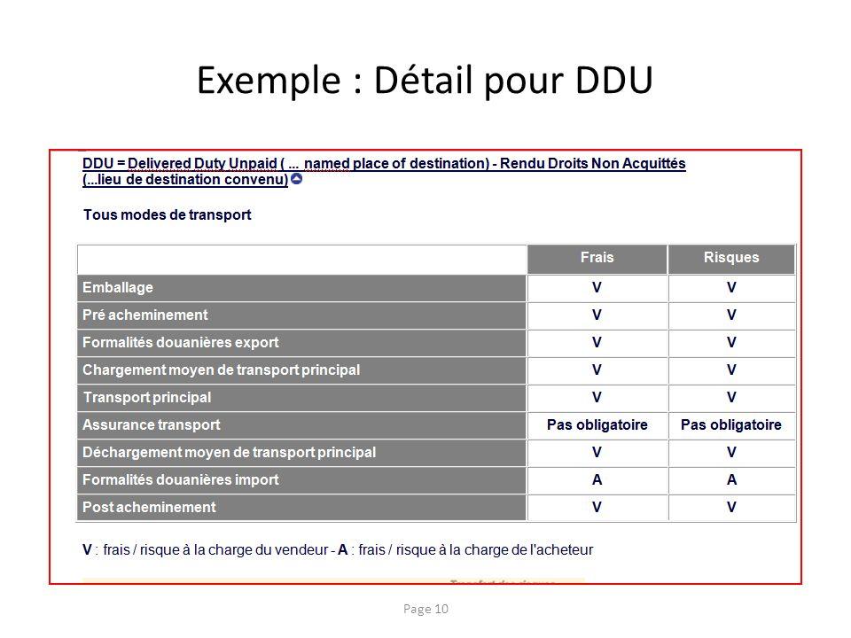 Exemple : Détail pour DDU
