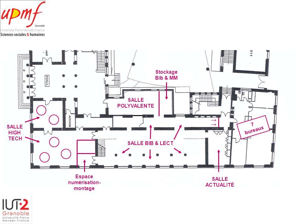 SALLE POLYVALENTE. Stockage. Bib & MM. SALLE. HIGH. TECH. SALLE BIB & LECT. 7. bureaux. Espace.
