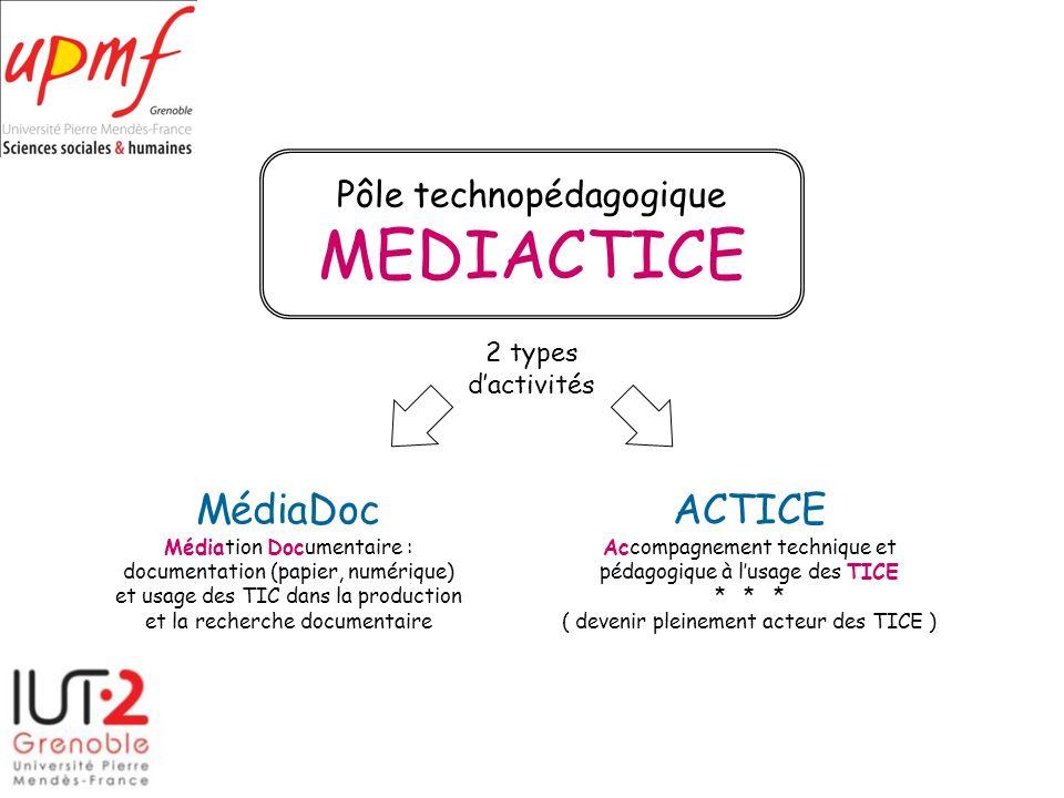 MEDIACTICE MédiaDoc ACTICE Pôle technopédagogique 2 types d'activités