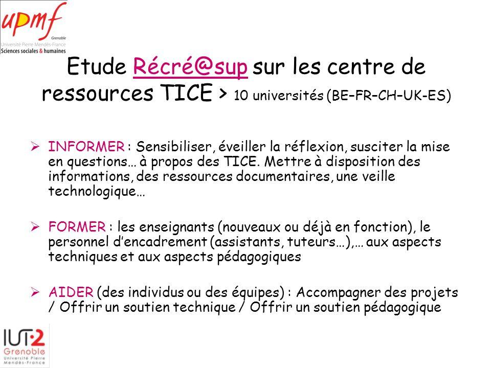 Etude Récré@sup sur les centre de ressources TICE > 10 universités (BE–FR–CH–UK-ES)