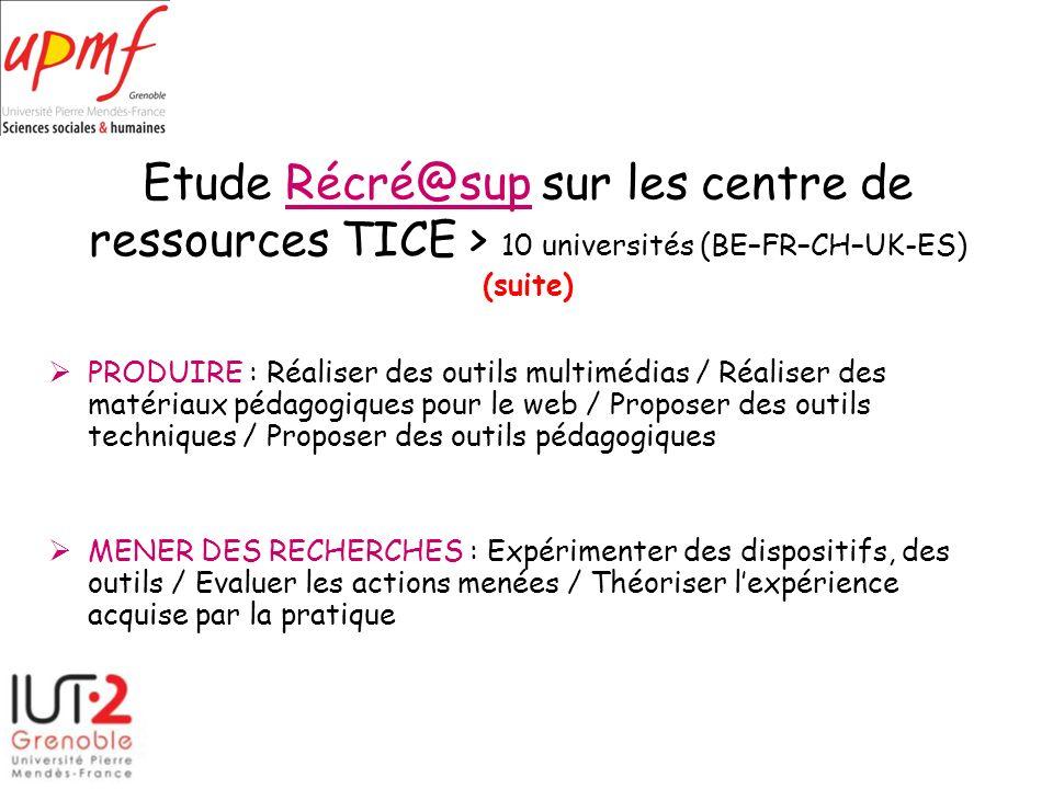 Etude Récré@sup sur les centre de ressources TICE > 10 universités (BE–FR–CH–UK-ES) (suite)