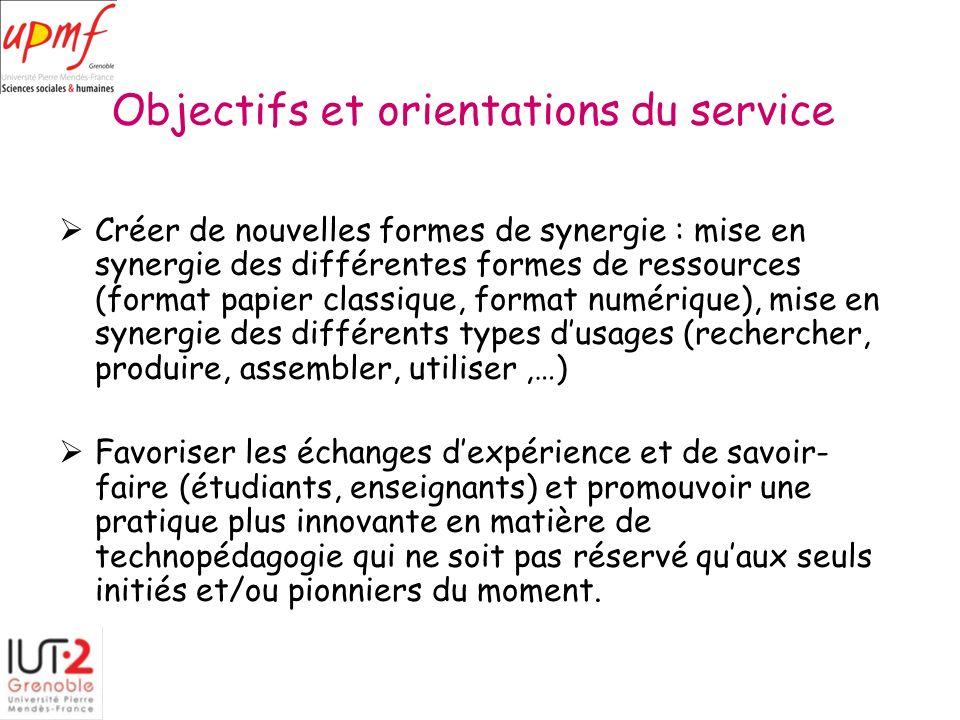 Objectifs et orientations du service
