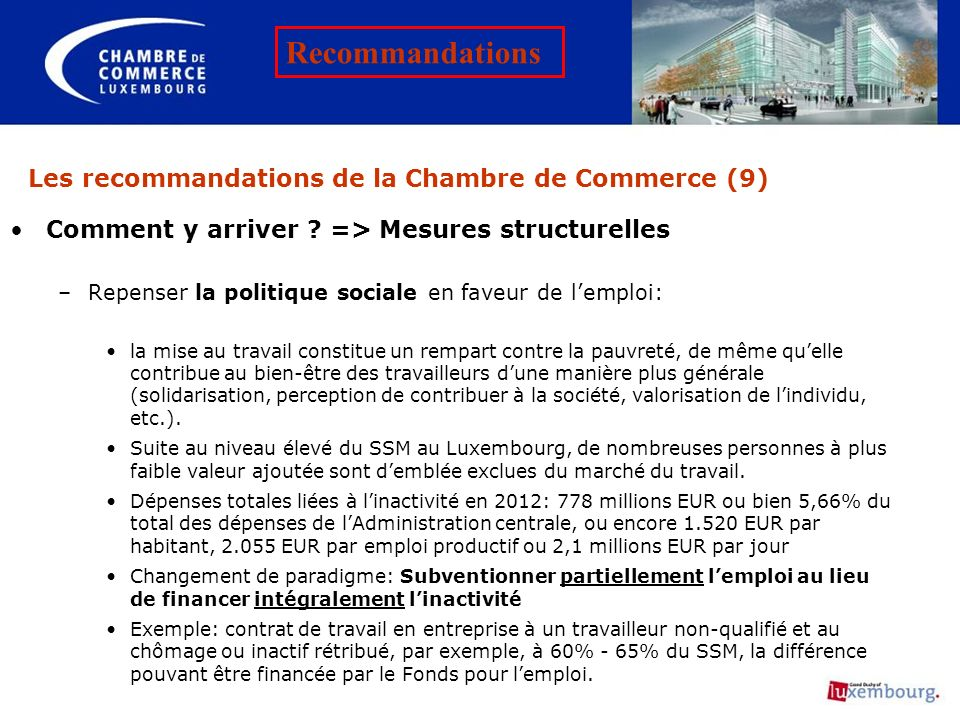 Les recommandations de la Chambre de Commerce (9)