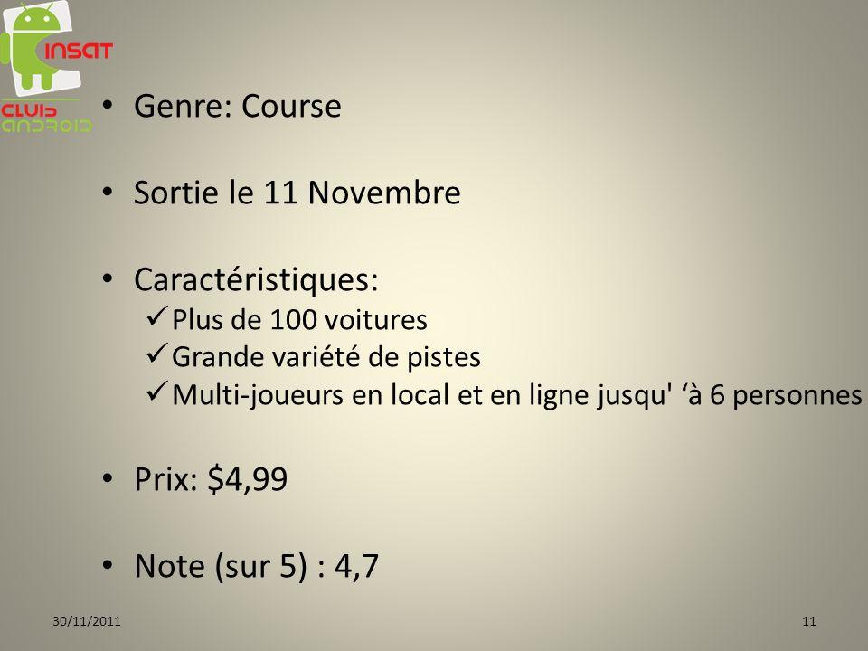 Genre: Course Sortie le 11 Novembre Caractéristiques: Prix: $4,99