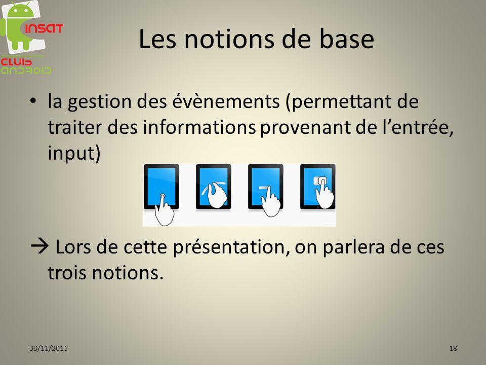Les notions de base la gestion des évènements (permettant de traiter des informations provenant de l'entrée, input)