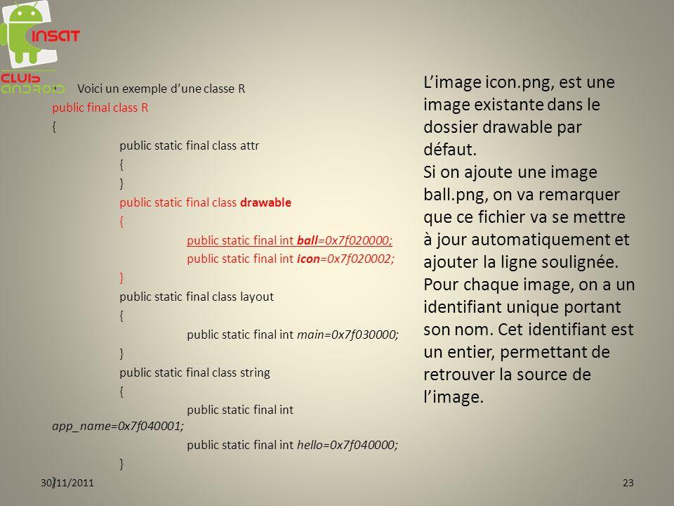 L'image icon.png, est une image existante dans le dossier drawable par défaut.