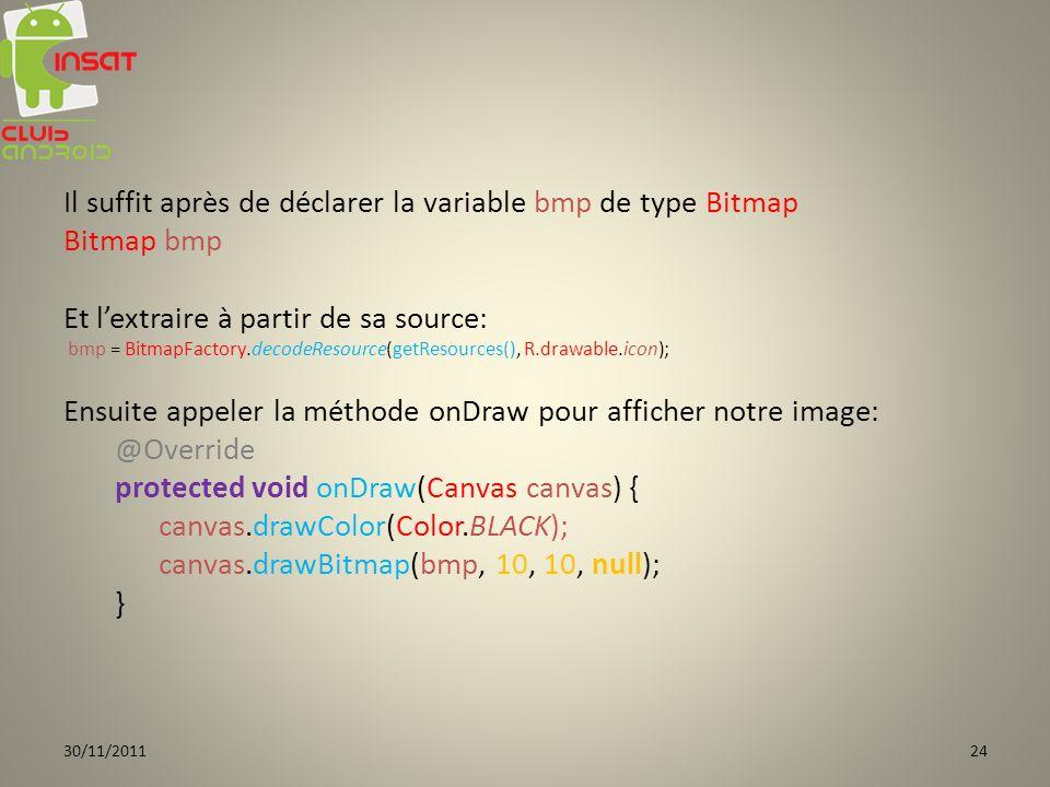 Il suffit après de déclarer la variable bmp de type Bitmap Bitmap bmp