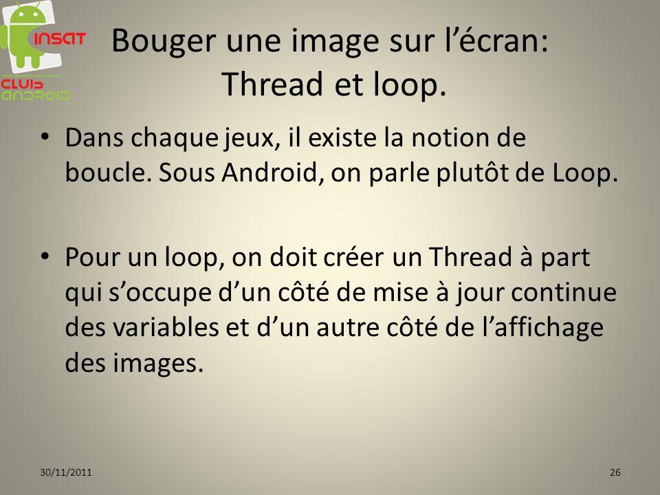 Bouger une image sur l'écran: Thread et loop.