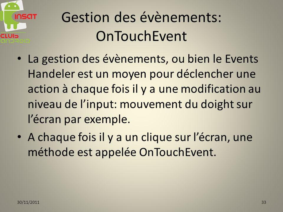 Gestion des évènements: OnTouchEvent