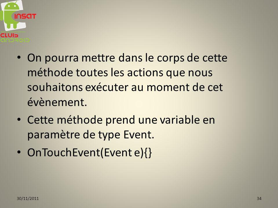 Cette méthode prend une variable en paramètre de type Event.