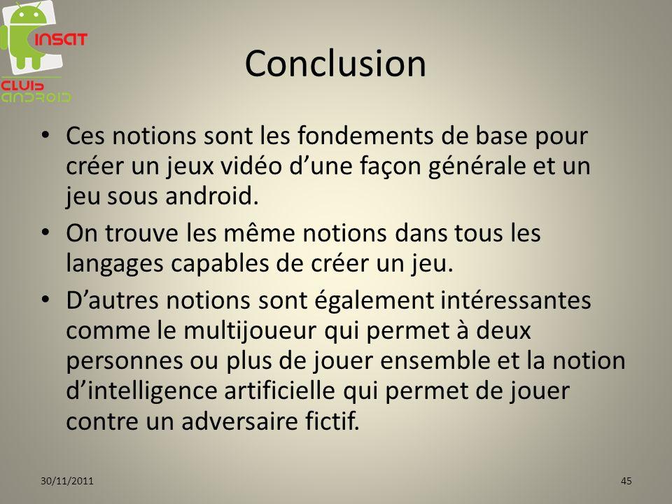 Conclusion Ces notions sont les fondements de base pour créer un jeux vidéo d'une façon générale et un jeu sous android.