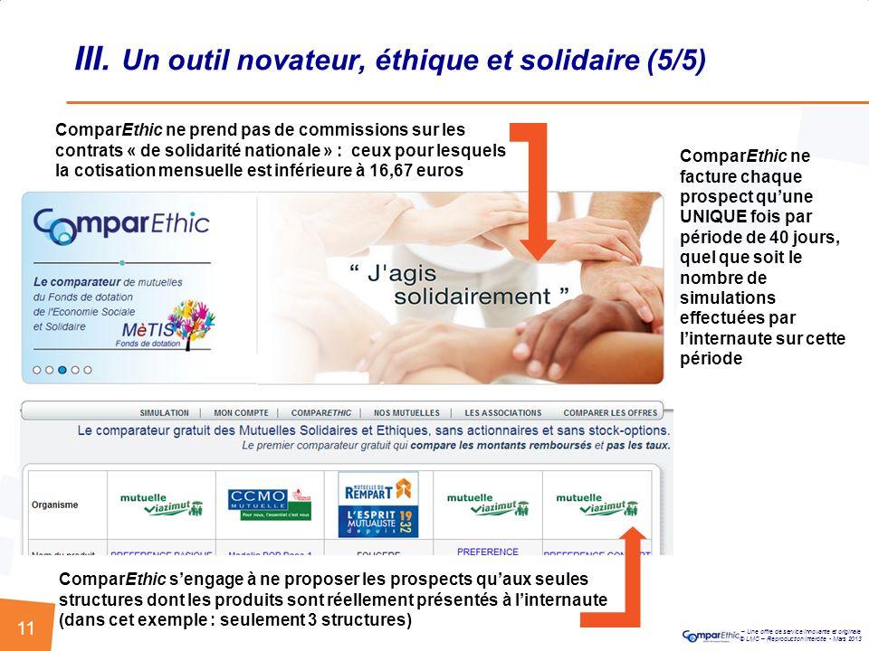 III. Un outil novateur, éthique et solidaire (5/5)