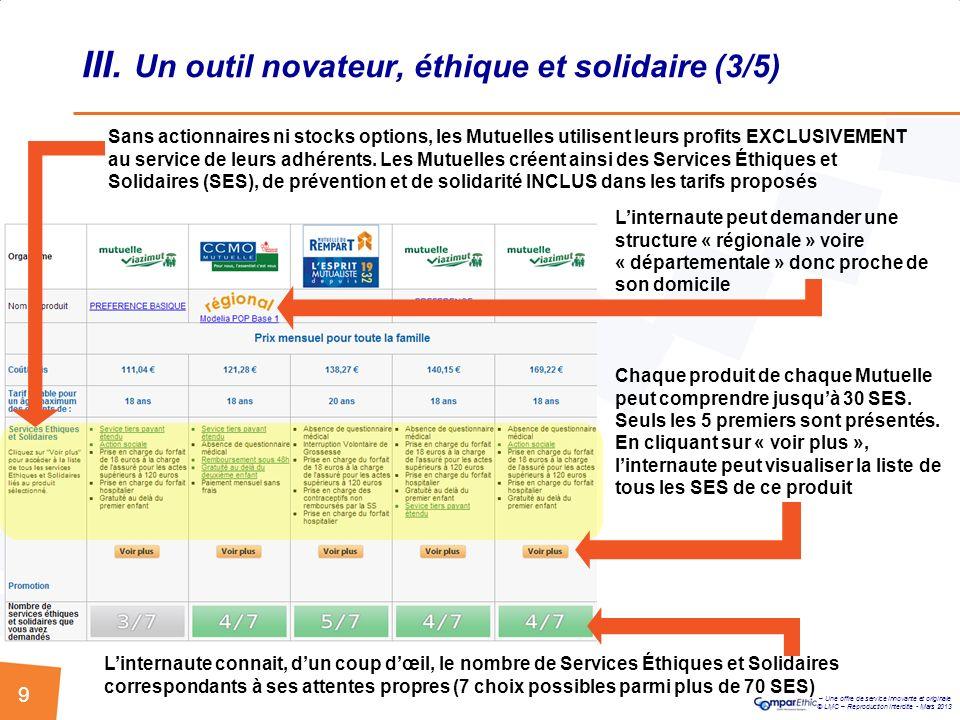III. Un outil novateur, éthique et solidaire (3/5)