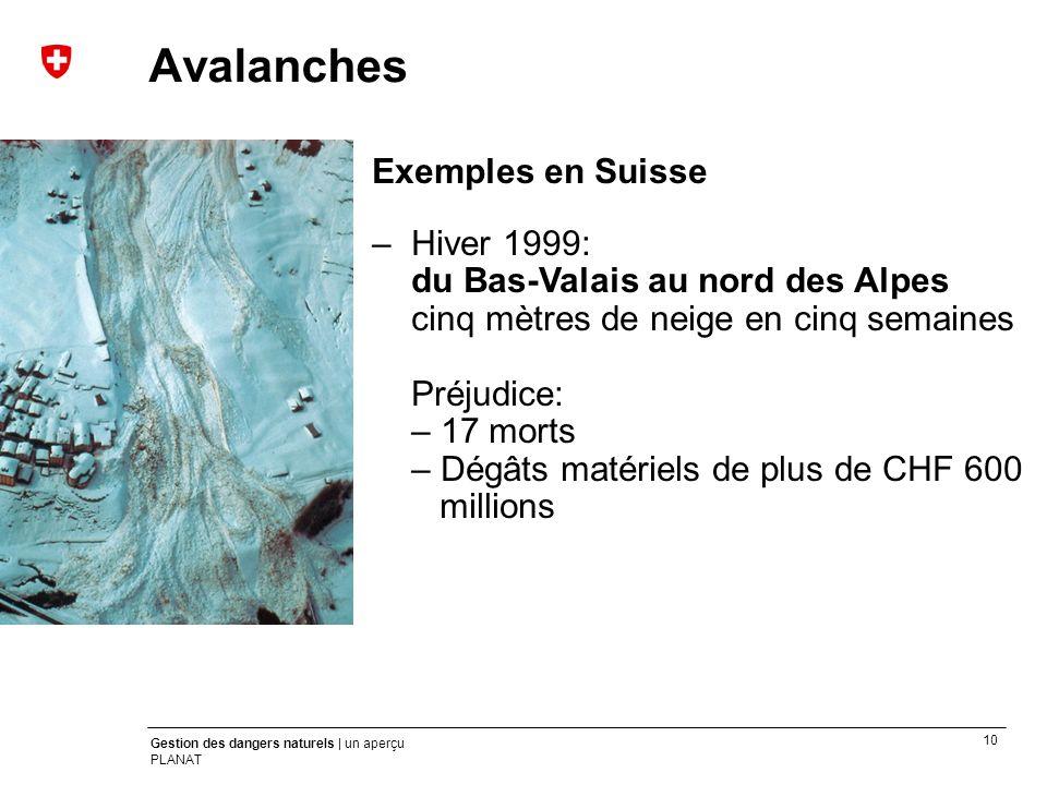 Avalanches Exemples en Suisse
