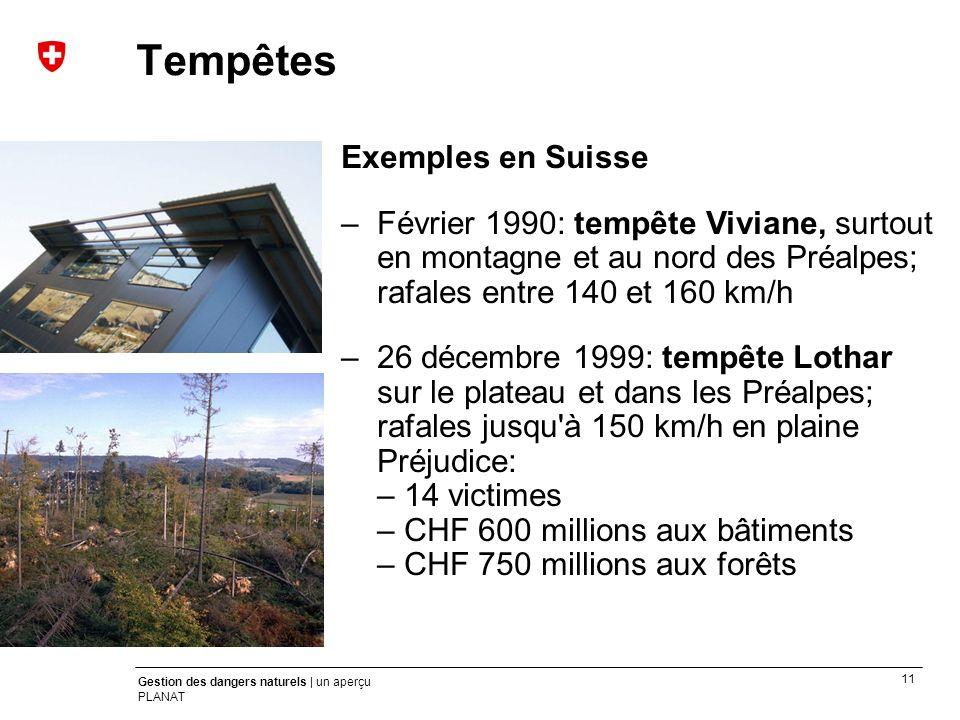 Tempêtes Exemples en Suisse