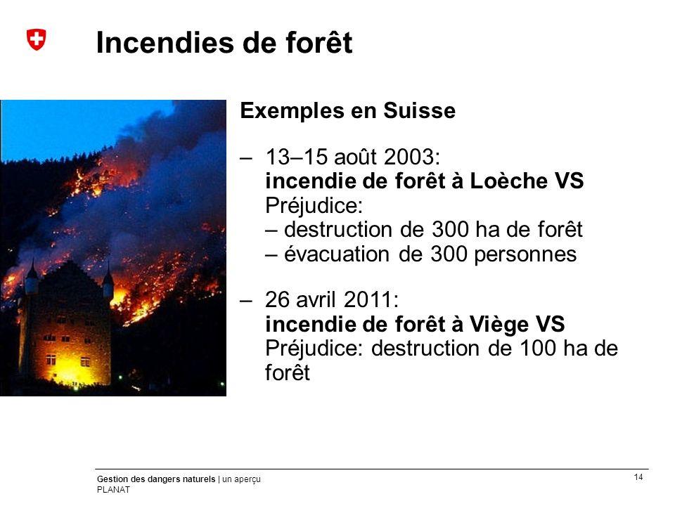 Incendies de forêt Exemples en Suisse
