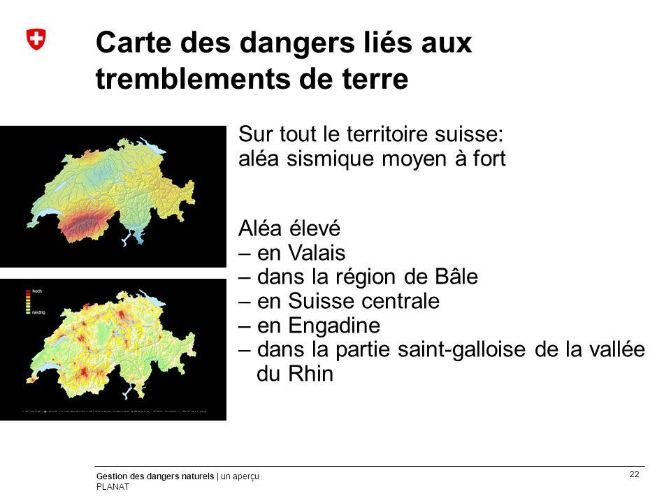 Carte des dangers liés aux tremblements de terre
