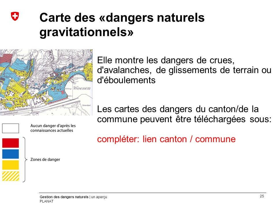 Carte des «dangers naturels gravitationnels»