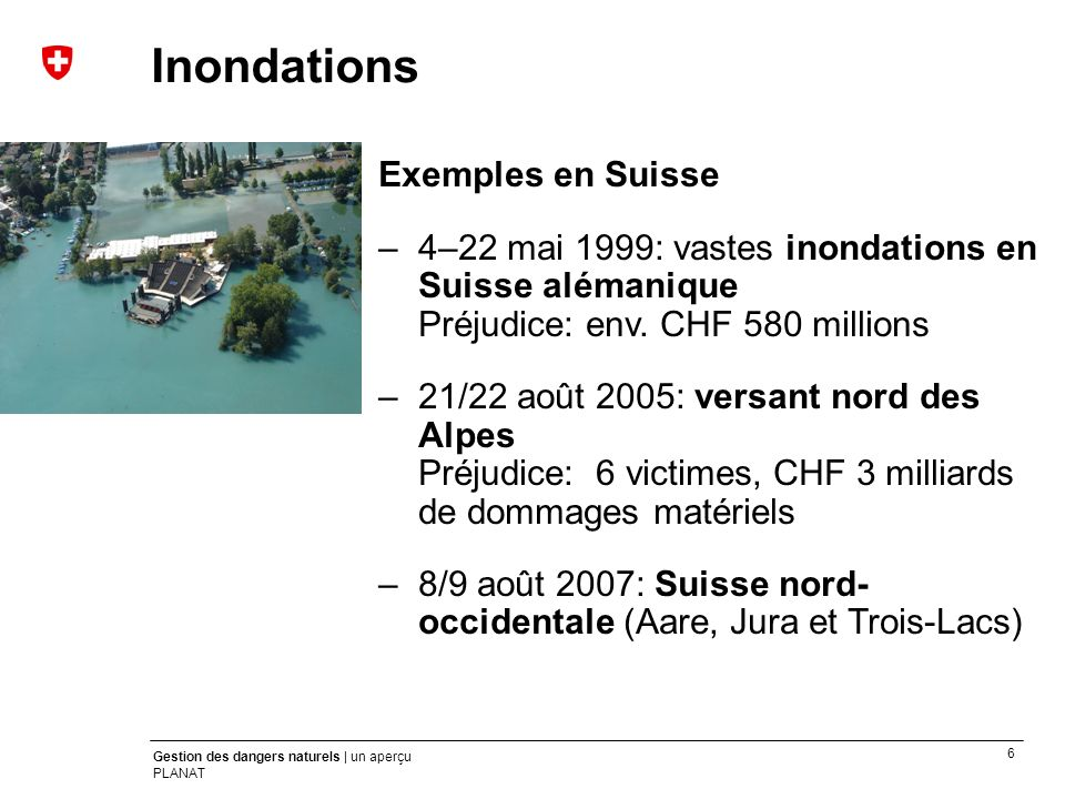 Crues Inondations Exemples en Suisse