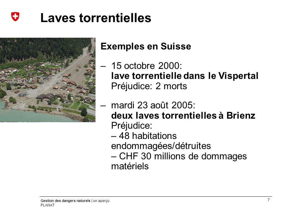 Laves torrentielles Exemples en Suisse