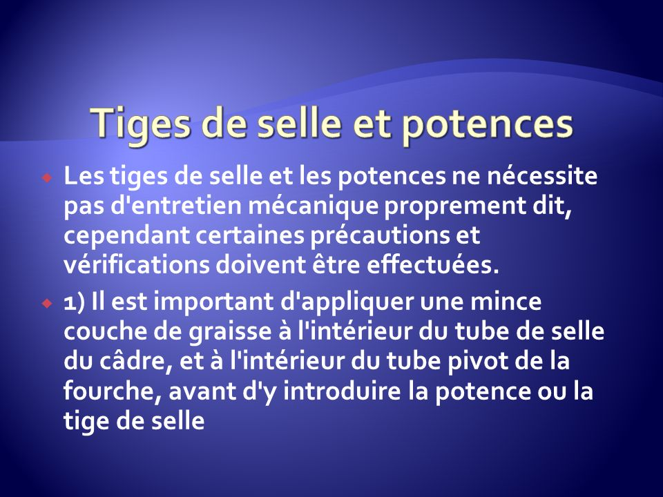 Tiges de selle et potences