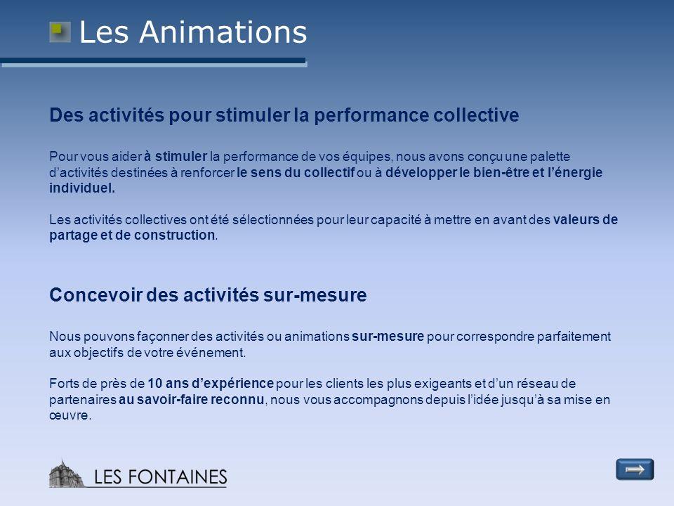Les Animations Des activités pour stimuler la performance collective