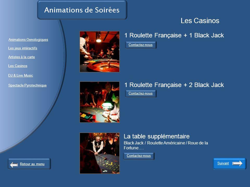 Animations de Soirées Les Casinos 1 Roulette Française + 1 Black Jack